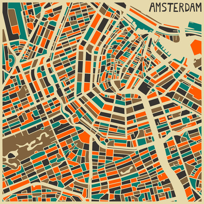 Jazzberry Blue Amsterdam Map