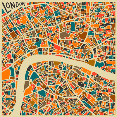 Mapping Art: Jazzberry Blue London Map
