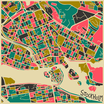 Mapping Art: Jazzberry Blue Stockholm Map