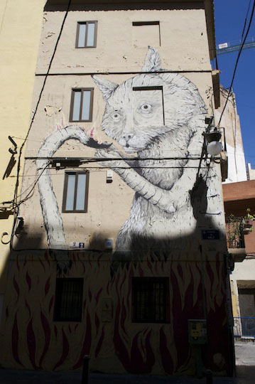 Spain-Valencia-Street-Art-Cat-Burning