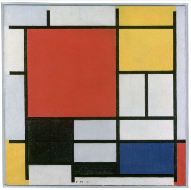 Facts About Piet Mondrian. Mondrian-Composition with large red plane